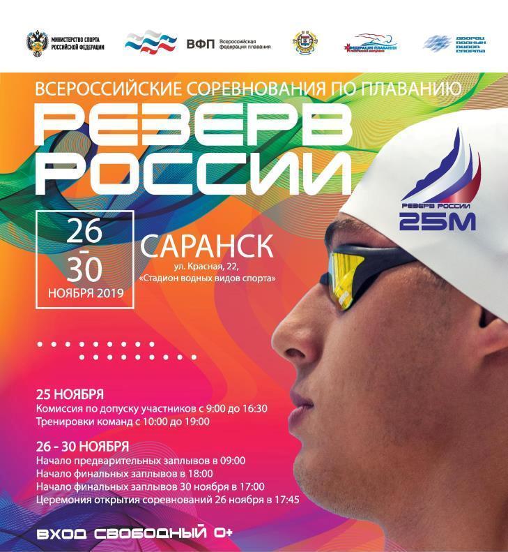 Всероссийские соревнования «Резерв России» среди юниоров, юношей и девушек по плаванию